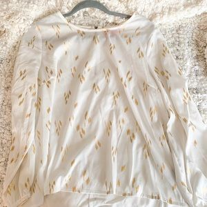 Tops - White and Gold Blouse